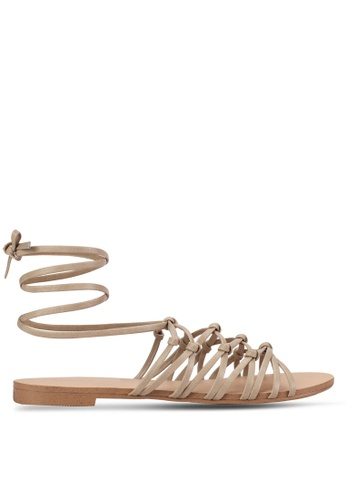 ZALORA grey and brown Lace Up Flat Sandals 85FD9SH20F5AFAGS_1
