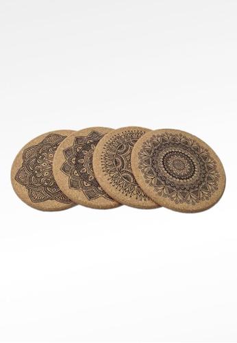 Ayra Home & Living brown Mandala Design Kitchen Insulation Cork Coaster Set of 4 4DC04HL4A33F54GS_1