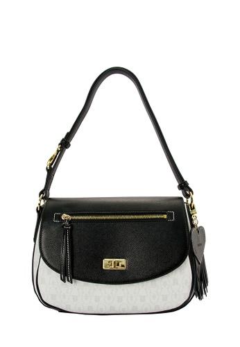 SEMBONIA white SEMBONIA Coated Canvas Trimmed Synthetic Leather Saddle Flap Crossbody Bag (White) SE598AC0RUTSMY_1