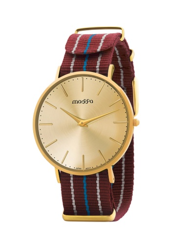 Massa Collections multi Grace Female Gold Gold w/ Maroon Nato Quartz Watch BC007AC4225444GS_1