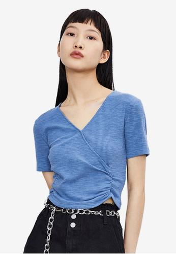 Urban Revivo 藍色 Crossover T-襯衫 78947AAC611B81GS_1