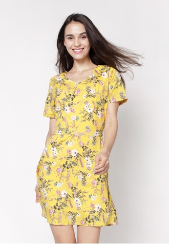nicole yellow V-Neckline Short Floral Printed Dress 7E415AA065C69AGS_1