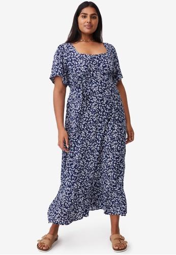 Cotton On blue Plus Size Laura Frill Hem Maxi Dress 1873CAA539F8C1GS_1