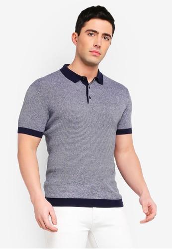 Mango Man blue and navy Knit Cotton Polo Shirt 59FA7AAE1C6BBEGS_1