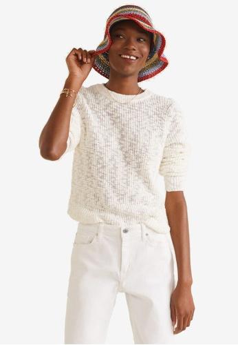 Mango beige Open-Knit Sweater 38085AAF2DE57DGS_1
