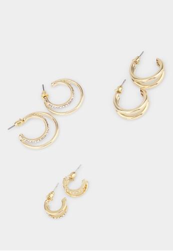 Pomelo gold Set of 3 Open Hoop Earrings - Gold 86F50ACB14D2DCGS_1