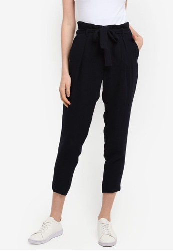 River Island navy Tie Waist Tapered Trouser 85ACFAA506954AGS_1