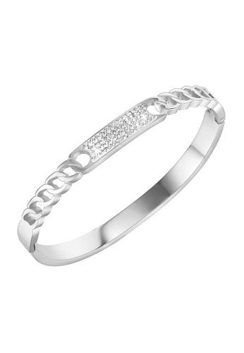 YOUNIQ silver YOUNIQ JENN Silver Titanium Steel Bangle with Cubic Zirconia 9BC1FAC8355424GS_1