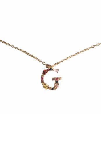 CINDERTOELLA gold Cindertoella Initial Alphabet Letter G Zircon Stone Pendant 18K Gold Plated Necklace D7728ACFACF416GS_1