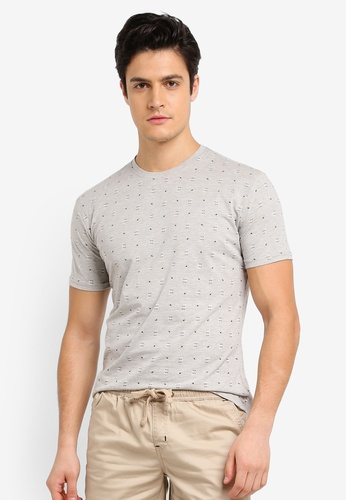 Fidelio grey Micro Arrow Printed Round Neck T-Shirt F51D1AA97F6427GS_1