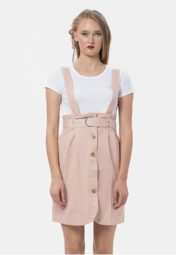 MKY Clothing pink MKY Highwaist Belt Button Skirt Overall 08AB5AA6A7455AGS_1