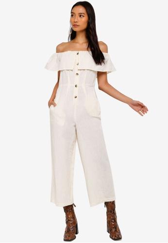 f8fd39a755496 Buy TOPSHOP Linen Bardot Jumpsuit Online on ZALORA Singapore