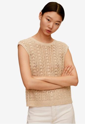 Mango brown Crochet Top 4DC1EAAB057363GS_1