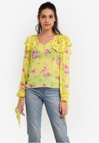Miss Selfridge yellow and multi Chartreuse Floral Print Ruffle Blouse MI665AA0RX9XMY_1