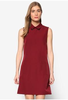 【ZALORA】 Collection 金屬飾襯衫領無袖連身裙