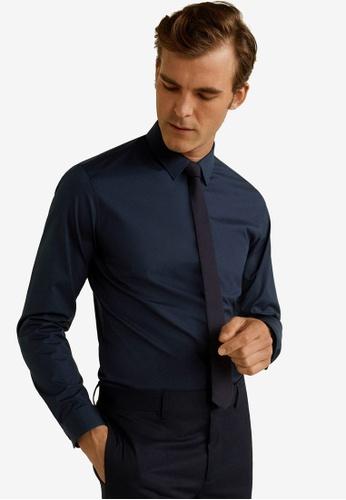 Mango Man 藍色 Tailored Super Slim Fit Cotton Shirt 0F430AAD7C5305GS_1