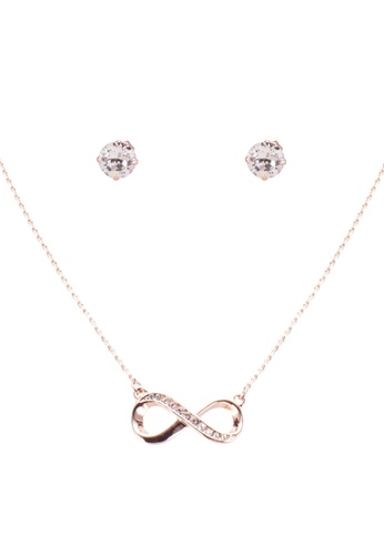 2ca2ef8f7 Mestige pink Rose Gold Infinity Necklace And Earrings Set With Swarovski  Crystals 1330DACF65D74DGS_1