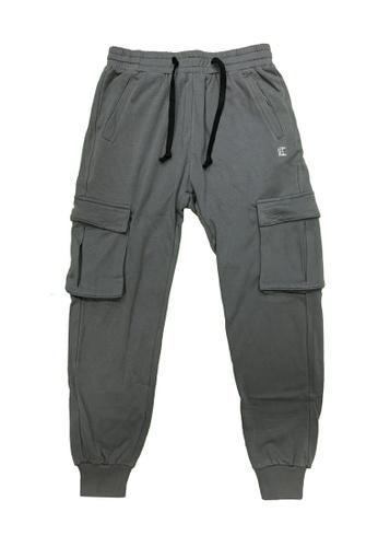 L.I.M.I.T.E grey Men's Sweat Pants with cargo pocket E4351AA96AEB96GS_1