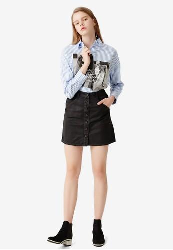 esprit taiwanLOVE 圖案設計條紋襯衫, 服飾, 上衣
