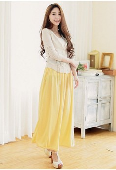 [IMPORTED] Waves Maxi Skirt - Yellow