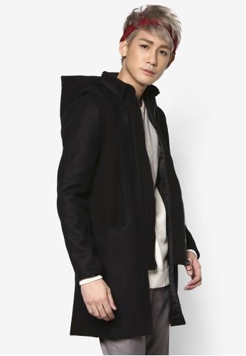 毛氈連帽帽拉鍊開襟大衣, esprit 台灣官網服飾, 外套