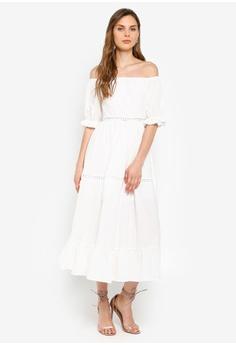 1d53662efb60 15% OFF INDIKAH Off Shoulder Crochet Trim Midi Dress HK$ 759.00 NOW HK$  645.90 Sizes 6 8 10 12