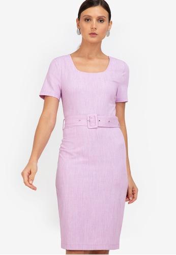 ZALORA WORK purple Square Neck Self Tie Dress A6C1CAAD165E4AGS_1