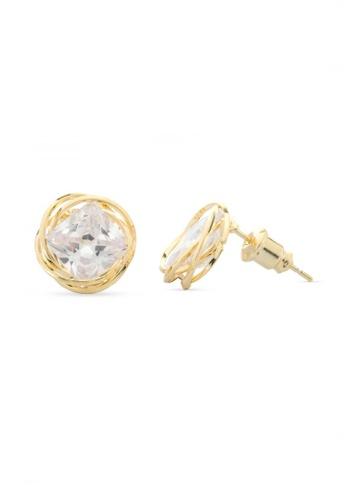 Mikana gold 18k Gold Plated Miu Stud Earrings 3FC31ACE1B6539GS_1