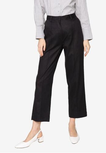 ZALIA BASICS black Pintuck Tapered Trousers 038CFAA5FC1AB7GS_1