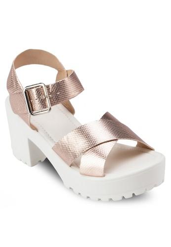 Coral 踝帶厚底zalora 台灣高跟涼鞋, 女鞋, 鞋