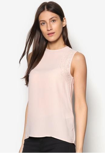 WAREHOUSE pink Sleeveless Lace Detail Top WA653AA93OVMMY_1