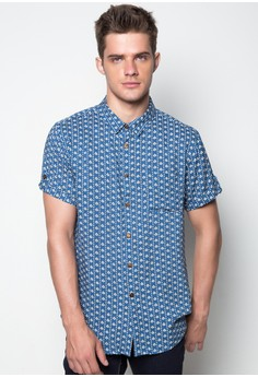 S/S M Button Down All Over Print