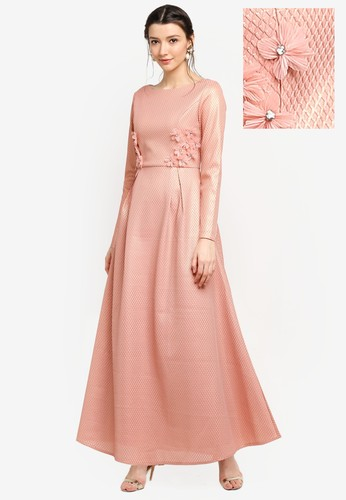 harga Foil Printed Mesh Fit & Flare Dress Zalora.co.id