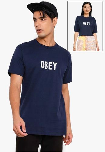 OBEY navy OG Classic T-Shirt 563F1AA6E4FF72GS_1