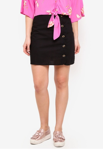 Cotton On black Woven Mini Military Skirt 73EFBAAB7AEC56GS_1
