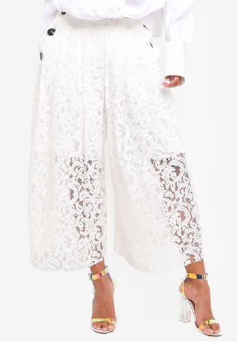 BYSI white Lace Button Wide Leg Pants 87FE0AA605606CGS_1