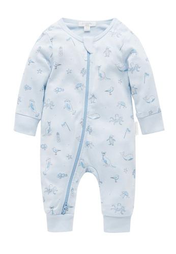 Purebaby blue Zip Growsuit with Cuff 97BDCKA8E0046DGS_1