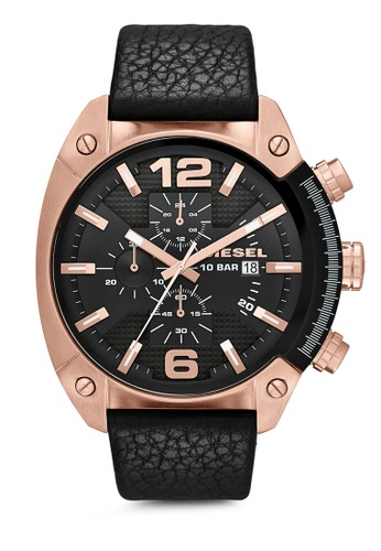 Diesel black and gold Diesel Overflow Black Leather Watch DZ4297 DI095AC36UCXMY_1