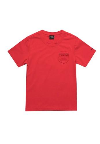 Police Denim red Emboss Design Fashion Tee Kids 8BFCAKA4B3BA6BGS_1