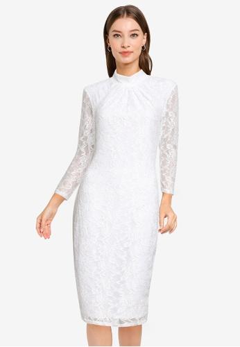 Goddiva white High Collar Lace Midi Bodycon Dress 6B2BBAAB69C57DGS_1