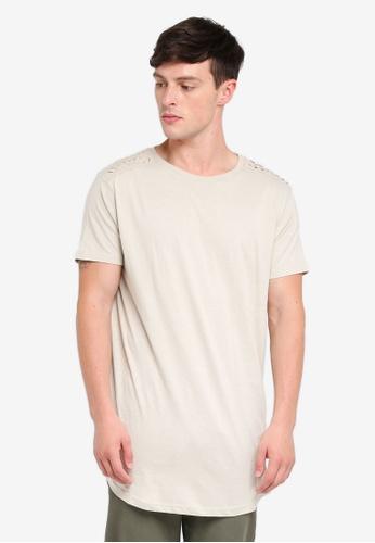 Brave Soul beige Longline Short Sleeve T-Shirt 3425EAACF4D0AAGS_1