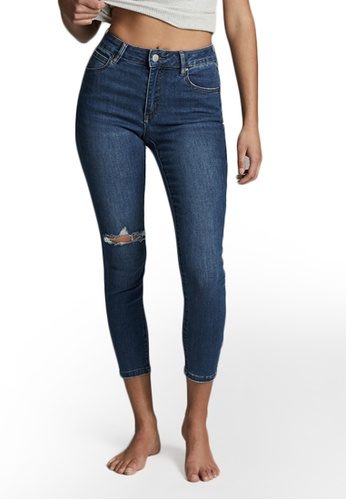 Cotton On blue Mid Rise Cropped Skinny Jeans 1DDF8AAB47DA59GS_1