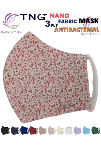 Cantik Butterfly TNG 3 Ply Antibacterial Nano Fabric Mask Reusable (Red Floral) Set of 5 1FB01ESDB33A1BGS_1