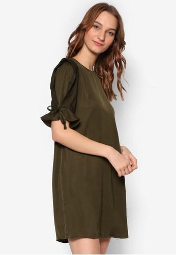 造型荷葉五分袖直筒連身裙, esprit旗艦店服飾, 洋裝