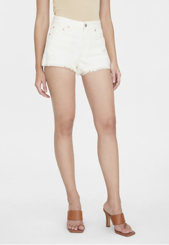 Pomelo white Water Neutral Raw Hem Fitted Denim Shorts - White C0D42AA576A7D6GS_1