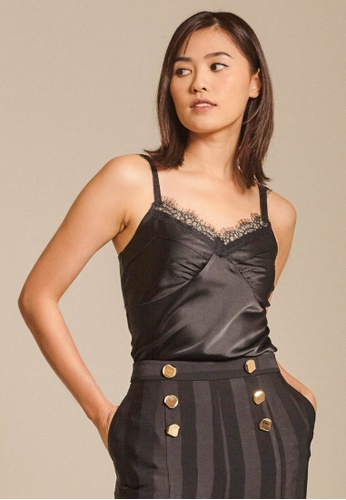 Dressing Paula black Lace-Trimmed Satin Twill Camisole 41528AA87E4BEEGS_1
