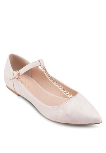 鏈飾T 字帶尖頭平底zalora 鞋評價鞋, 女鞋, 鞋