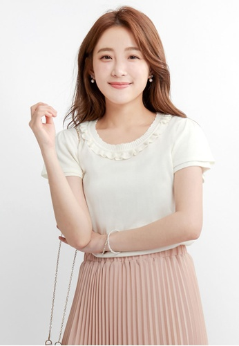 Yoco white Knit Top with Ruffled Neckline 0F5B5AA42F90F1GS_1