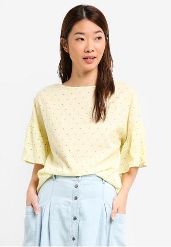 ESPRIT yellow Woven Short Sleeve Blouse 41884AA11DF739GS_1