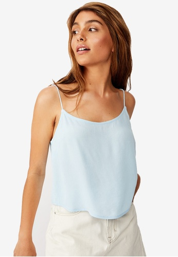 Cotton On blue Astrid Cropped Scoop Neck Top 0CE0DAA7021519GS_1